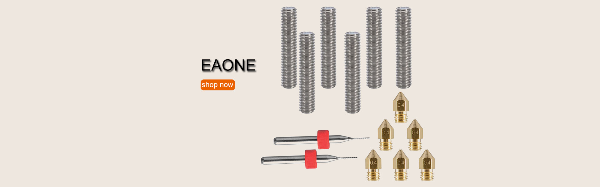 EAONE 6pcs 30MM Length Extruder 1.75MM Tube and 6pcs 0.4MM Brass Extruder Nozzle Print Heads for MK8