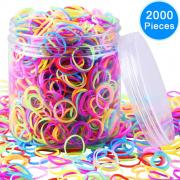 EAONE 2000 Pieces Multi-color Rubber Bands Small Candy Color Hair Bands Hair Elastic with Free Box