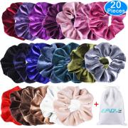 EAONE 20 Pack Velvet Hair Scrunchies Colorful Velvet Hair Ties Scrunchy Bobble Hair Bands