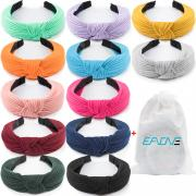 EAONE 12 Pieces Knot Headband, Knot Turban Headbands Knitted Elastic Wide Plain Headbands, Knotted Boho Headbands for Women and Girls, 12 Colors, with 1 PC Pouch Bag …