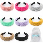 EAONE Knot Headbands for Women Girls 8 Pieces, Knotted Turban Headband Knitted Head Bands Boho Style Hard Headbands 8 Colors with 1 Pouch Bag