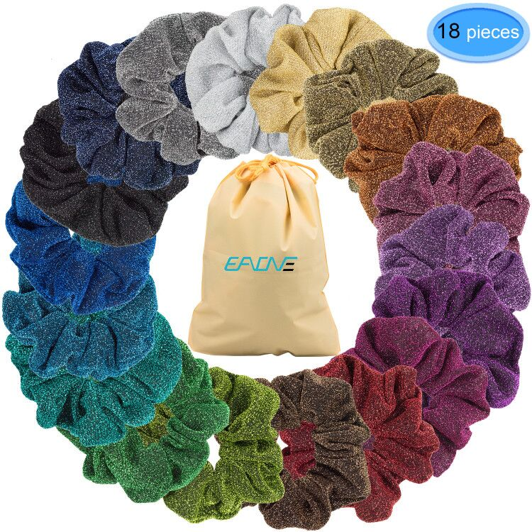 EAONE 18 Pcs Glitter Elastic Hair Scrunchies, Shiny Hair Ring for Ponytail Holder Hair Accessories Ropes Scrunchie for Women Girls , 18 Colors
