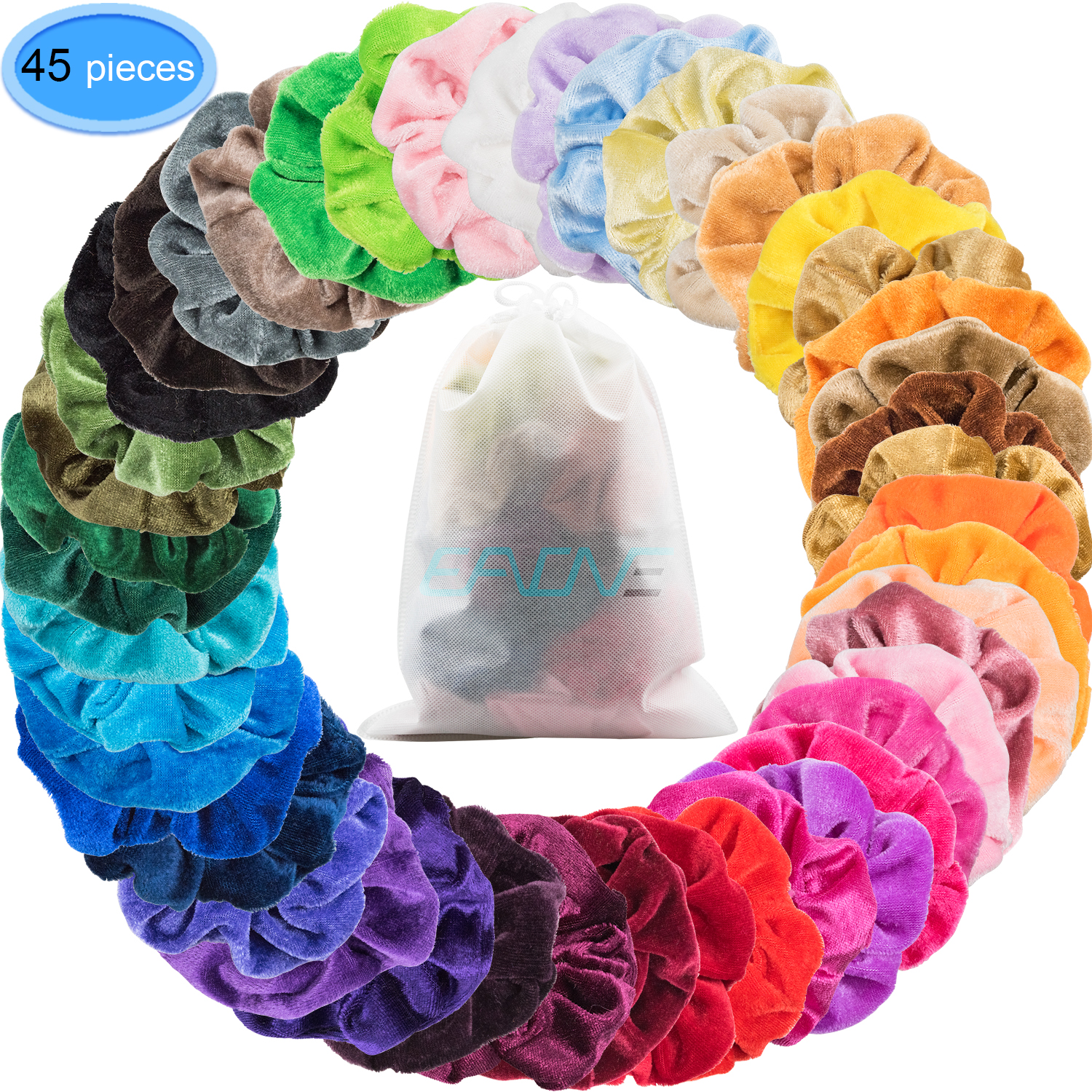 EAONE 45 Colors Hair Scrunchies Velvet Elastic Hair Ties Scrunchy Hair Bands Ponytail Holder Headbands for Women Girls Hair Accessories, 45 Pieces