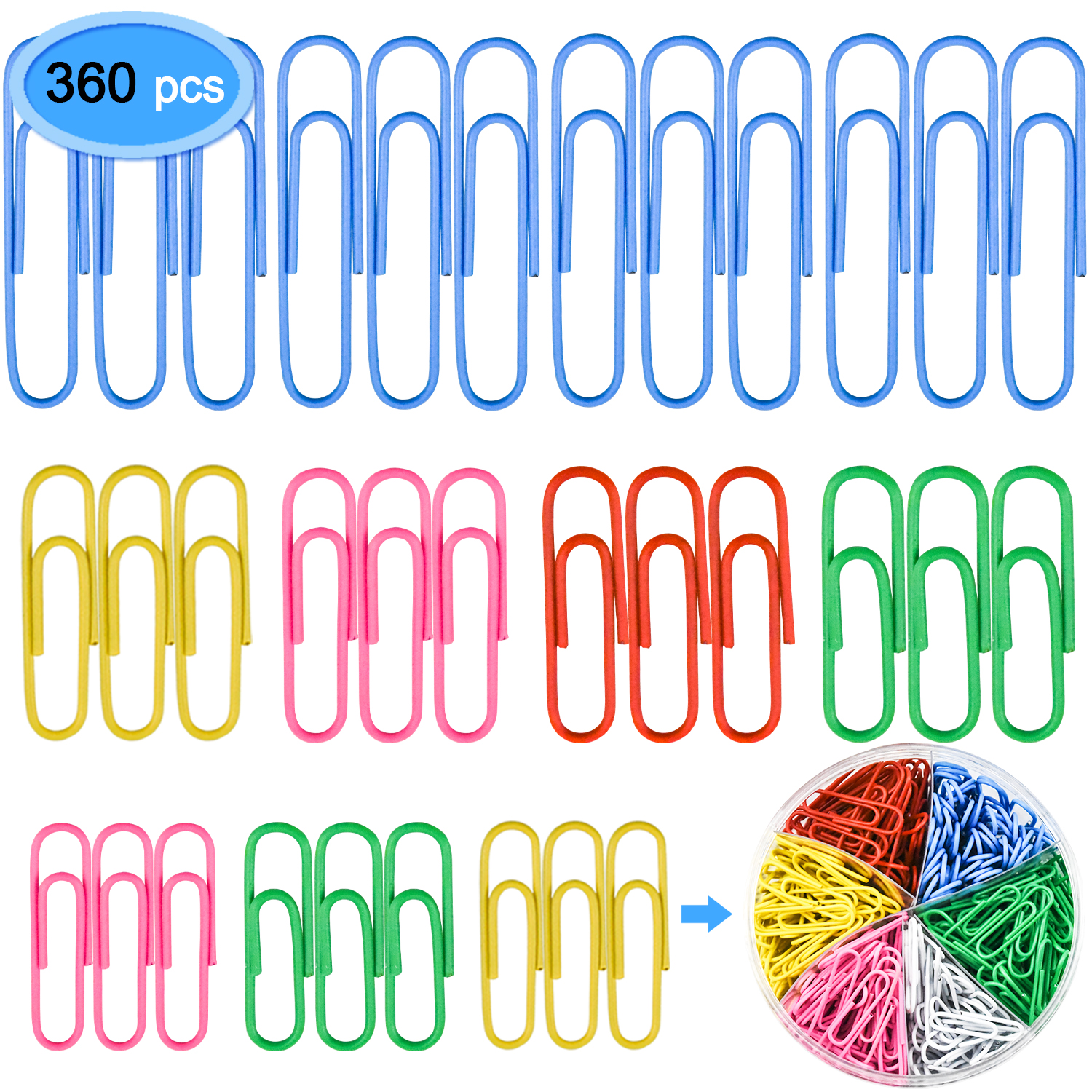 Paper Clips 360 Pieces, EAONE Color Coated Paper Clip Paperclips Assorted Size with Small, Medium, Jumbo Size (28mm, 33mm, 50mm) for Office, School Supply
